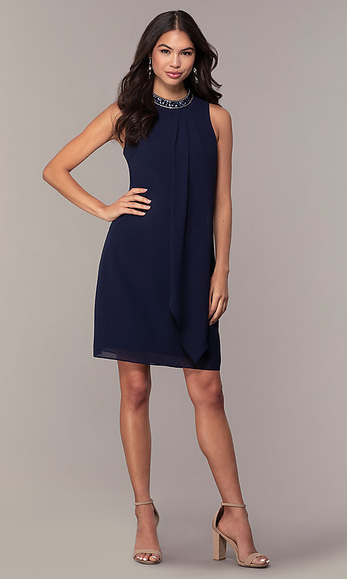 Image of sleeveless short navy wedding-guest dress by Simply. Style: MT-SD-9835 Detail Image 3