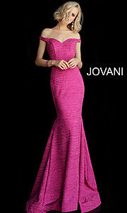 Image of sparkly off-the-shoulder long Jovani prom dress. Style: JO-60122 Detail Image 3
