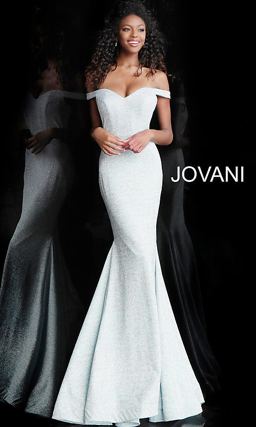 Image of sparkly off-the-shoulder long Jovani prom dress. Style: JO-60122 Front Image