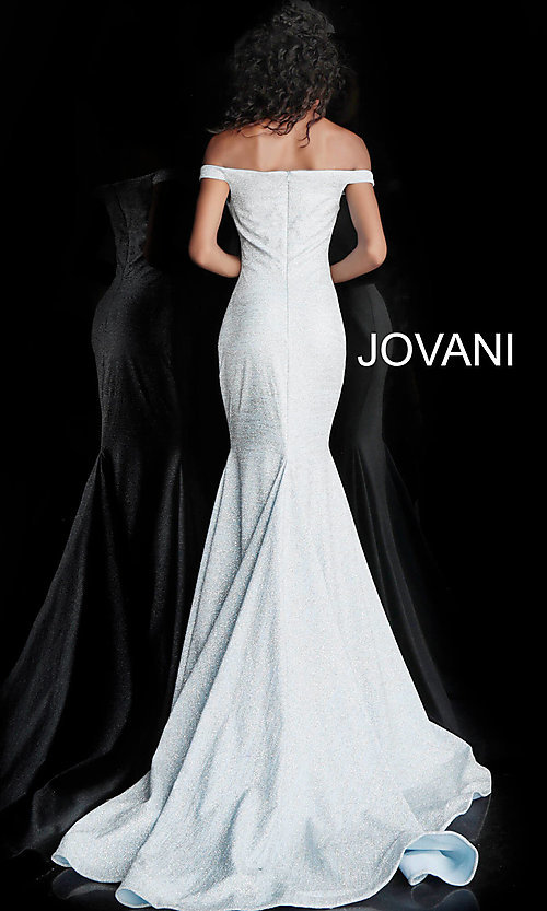 Image of sparkly off-the-shoulder long Jovani prom dress. Style: JO-60122 Back Image
