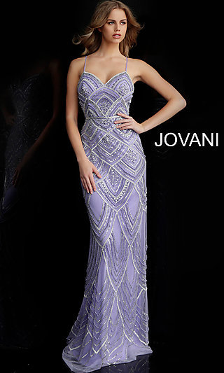 Long Beaded Designer Prom Dress Jovani