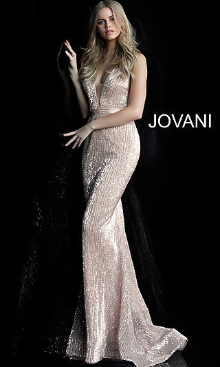 Long Sequin V-Neck Jovani Designer Prom Dress