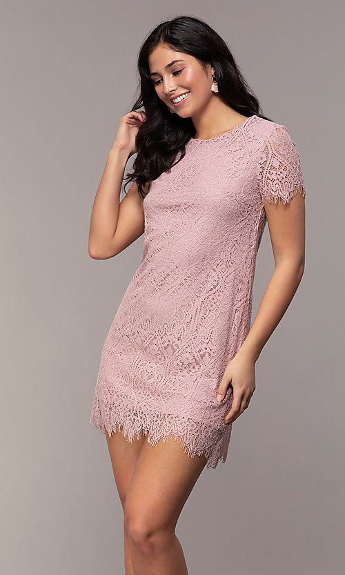 0ffa2e941f02 Image of lace short-sleeve shift pink party dress. Style: VE-82122361