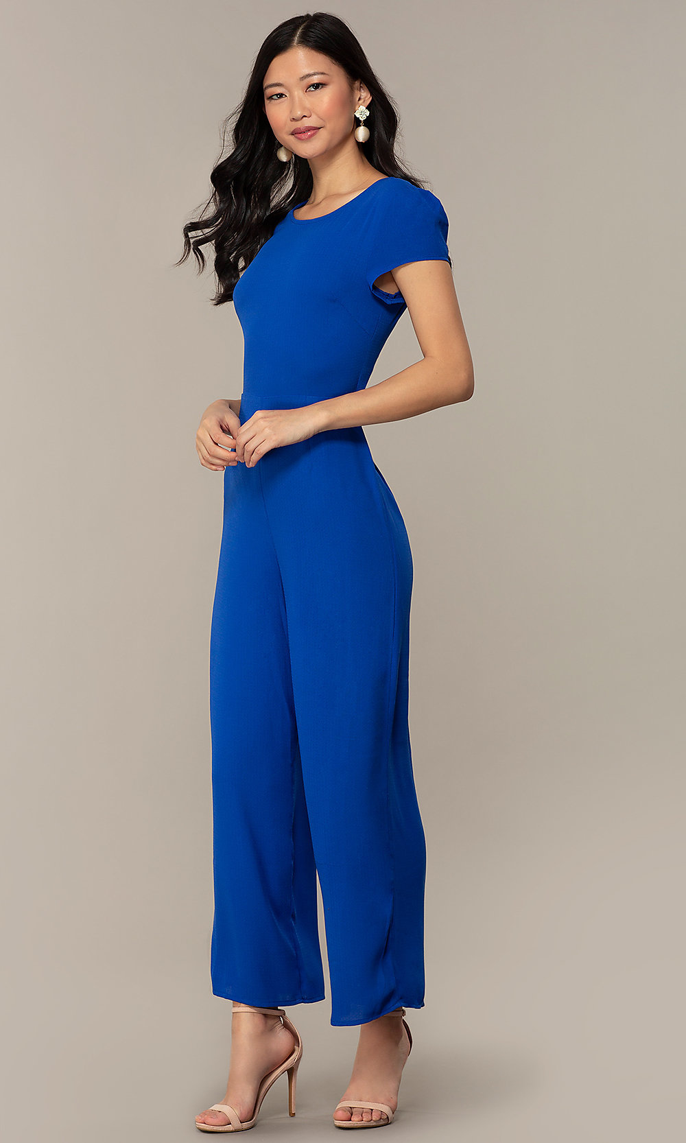 c8fc3d749bd3 Tap to expand · Image of wedding-guest short-sleeve party jumpsuit.