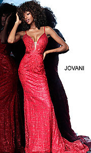 Image of long embroidered open-back designer prom dress. Style: JO-62517 Detail Image 3