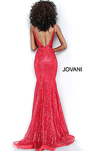 Image of long embroidered open-back designer prom dress. Style: JO-62517 Detail Image 6