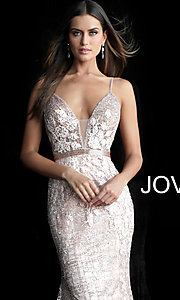 Image of long embroidered open-back designer prom dress. Style: JO-62517 Detail Image 1