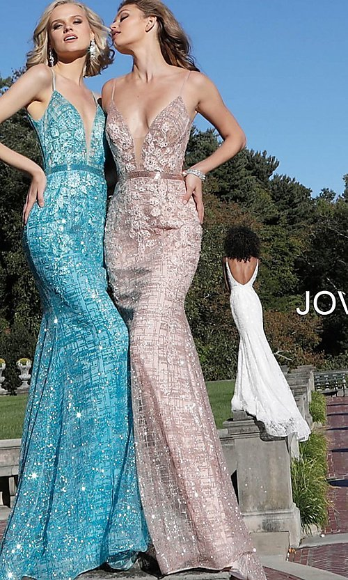 Image of long embroidered open-back designer prom dress. Style: JO-62517 Detail Image 4