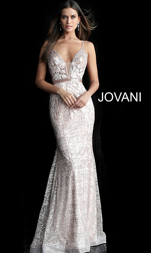 Image of long embroidered open-back designer prom dress. Style: JO-62517 Front Image