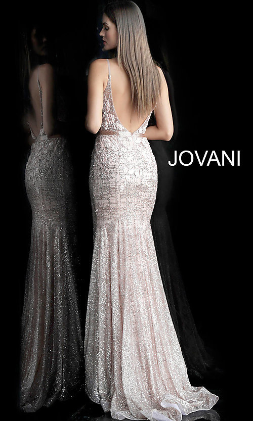 Image of long embroidered open-back designer prom dress. Style: JO-62517 Back Image