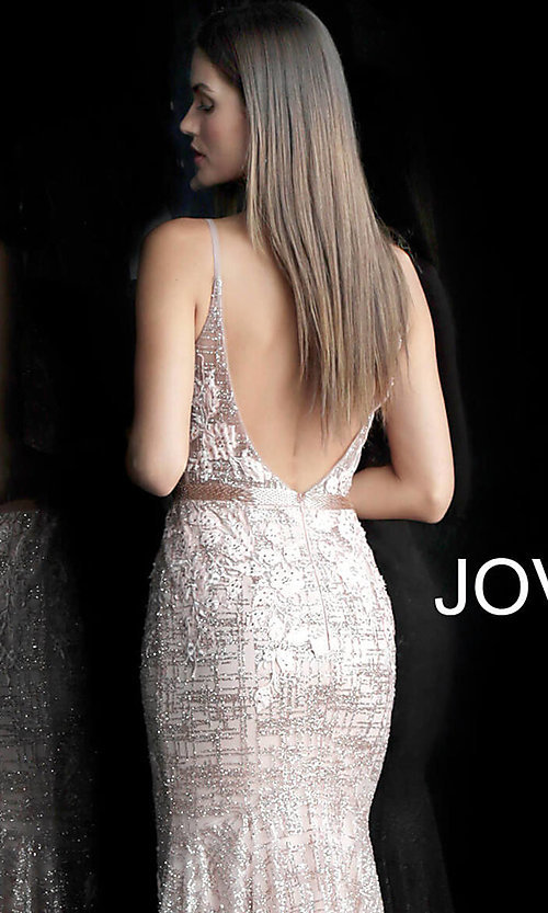 Image of long embroidered open-back designer prom dress. Style: JO-62517 Detail Image 2