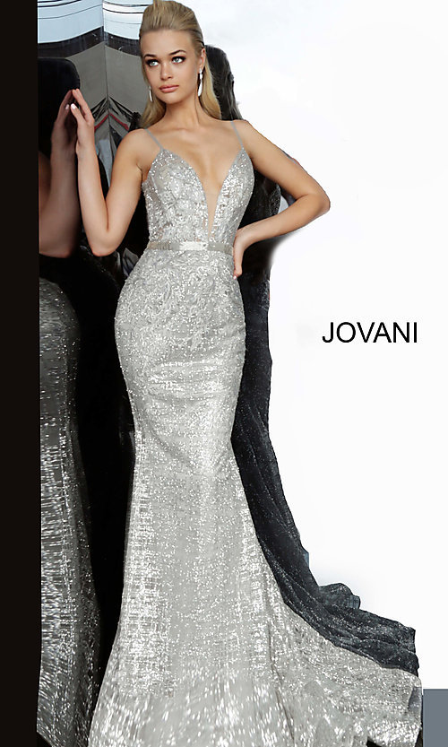 Image of long embroidered open-back designer prom dress. Style: JO-62517 Detail Image 7