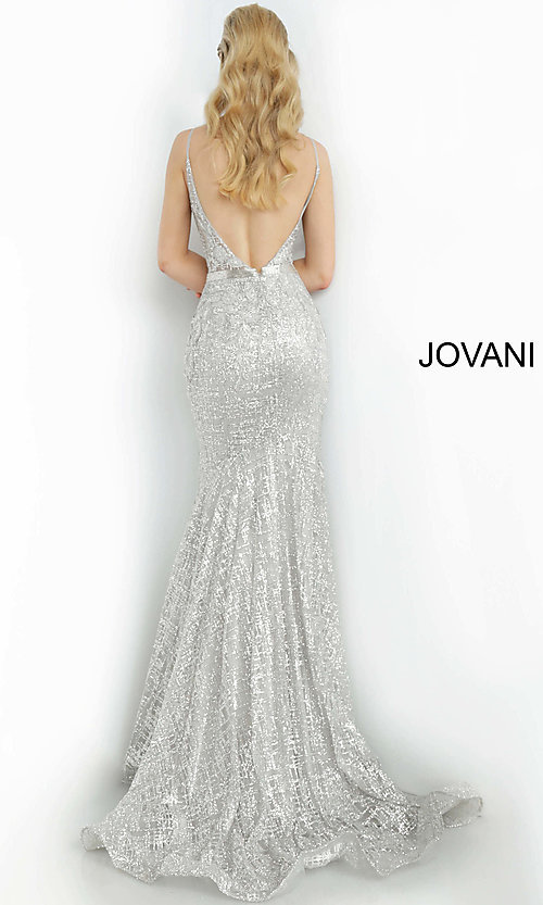 Image of long embroidered open-back designer prom dress. Style: JO-62517 Detail Image 8
