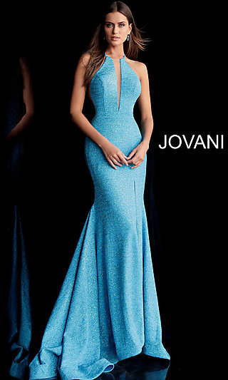 Long Glitter Designer Prom Dress by Jovani