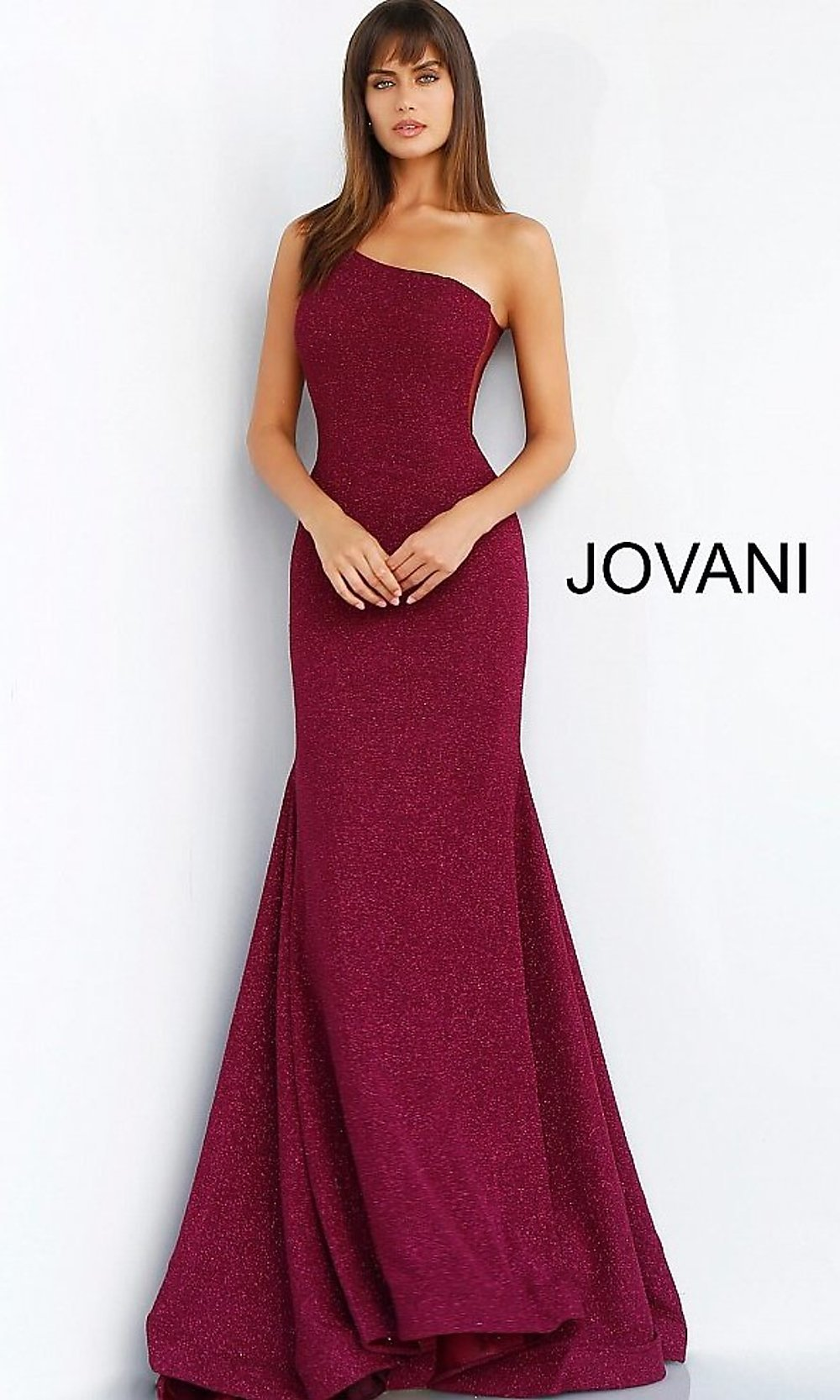 0f3ab7b4ac Long Glitter One-Shoulder Jovani Prom Dress