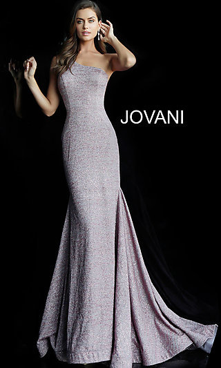 f1a3009cb067 Long Glitter One-Shoulder Jovani Prom Dress