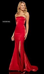 Image of long Sherri Hill strapless corset-back prom dress. Style: SH-52961 Detail Image 3