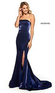 Image of long Sherri Hill strapless corset-back prom dress. Style: SH-52961 Detail Image 1
