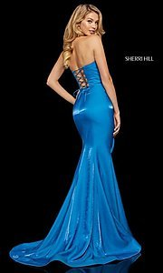 Image of long Sherri Hill strapless corset-back prom dress. Style: SH-52961 Detail Image 6