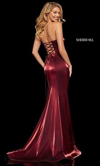 Long Sherri Hill Strapless Corset-Back Prom Dress