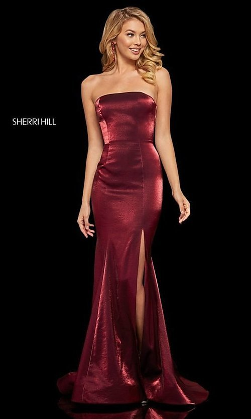 Image of long Sherri Hill strapless corset-back prom dress. Style: SH-52961 Back Image