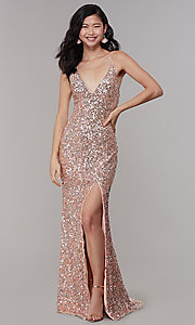 Image of sequined v-neck long prom dress by PromGirl. Style: PV-PL-126 Front Image