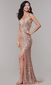 Image of sequined v-neck long prom dress by PromGirl. Style: PV-PL-126 Detail Image 3
