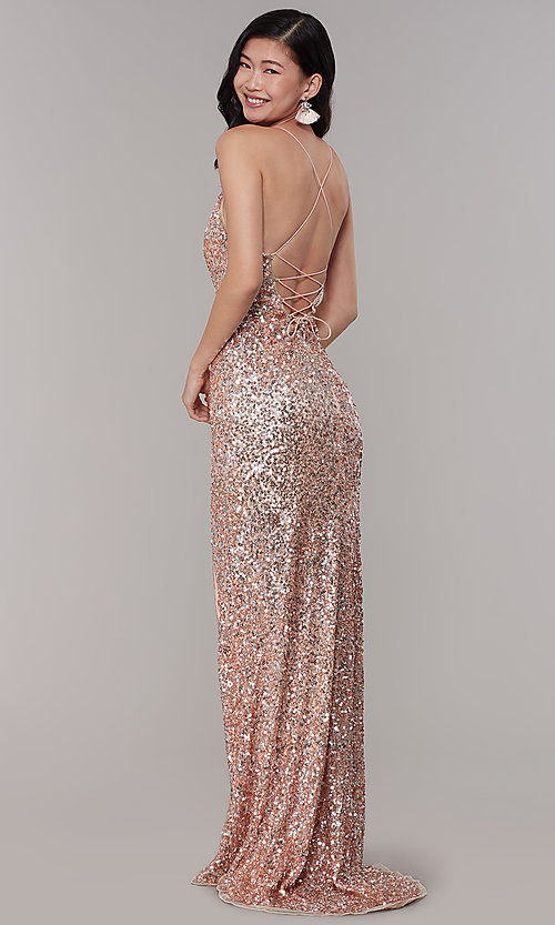 Image of sequined v-neck long prom dress by PromGirl. Style: PV-PL-126 Back Image