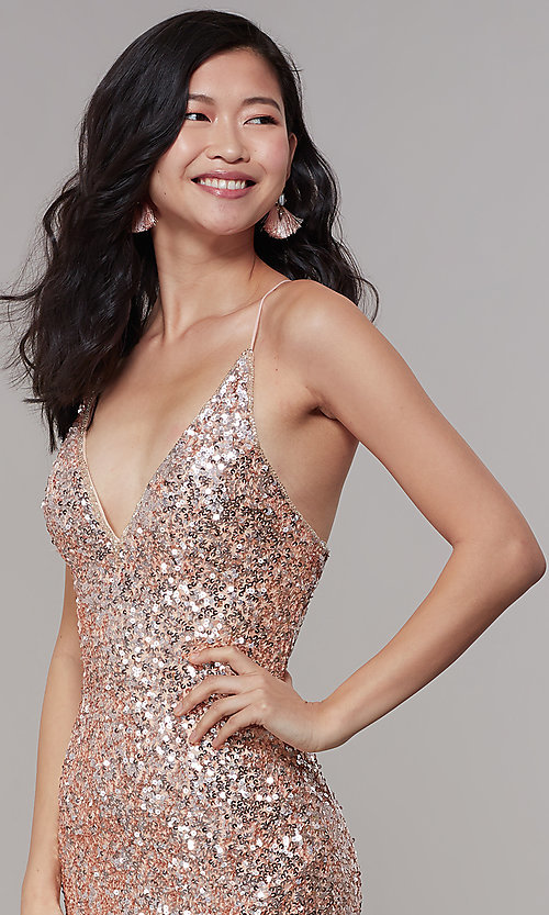 Image of sequined v-neck long prom dress by PromGirl. Style: PV-PL-126 Detail Image 1