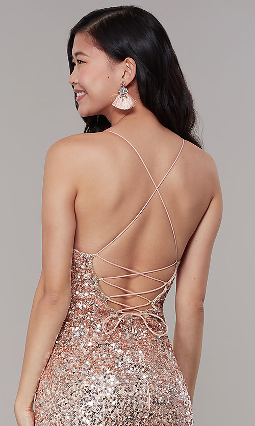Image of sequined v-neck long prom dress by PromGirl. Style: PV-PL-126 Detail Image 2