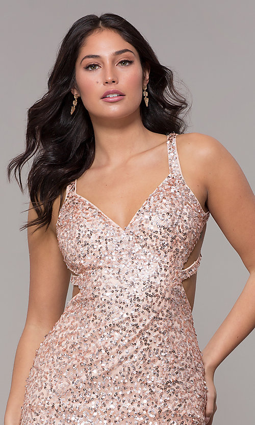 Image of sequin-mesh long sparkling prom dress by PromGirl. Style: PV-PL-129 Detail Image 1