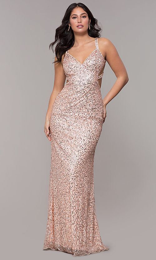 Image of sequin-mesh long sparkling prom dress by PromGirl. Style: PV-PL-129 Detail Image 3