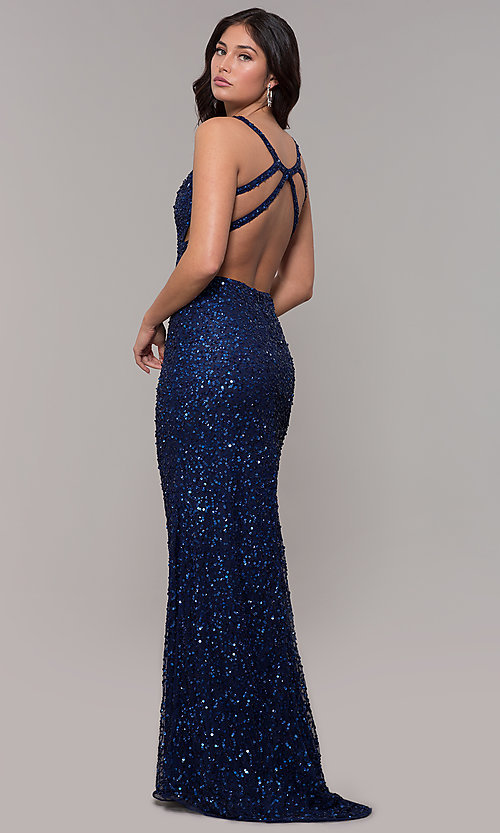 Image of sequin-mesh long sparkling prom dress by PromGirl. Style: PV-PL-129 Detail Image 5