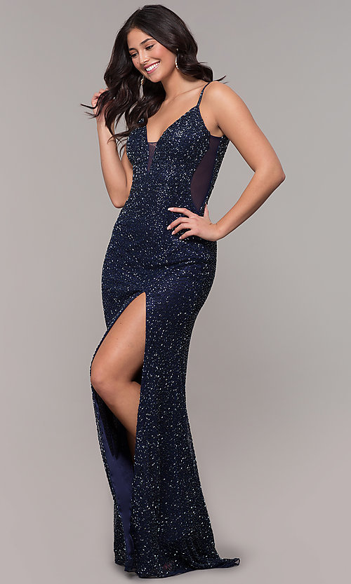 Image of long v-neck beaded prom dress by PromGirl. Style: PV-PL-130 Front Image