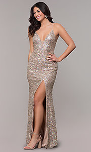 Image of tied-back v-neck long sequin prom dress by PromGirl. Style: PV-PL-136 Front Image