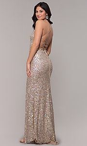 Image of tied-back v-neck long sequin prom dress by PromGirl. Style: PV-PL-136 Back Image