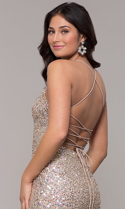 Image of tied-back v-neck long sequin prom dress by PromGirl. Style: PV-PL-136 Detail Image 2