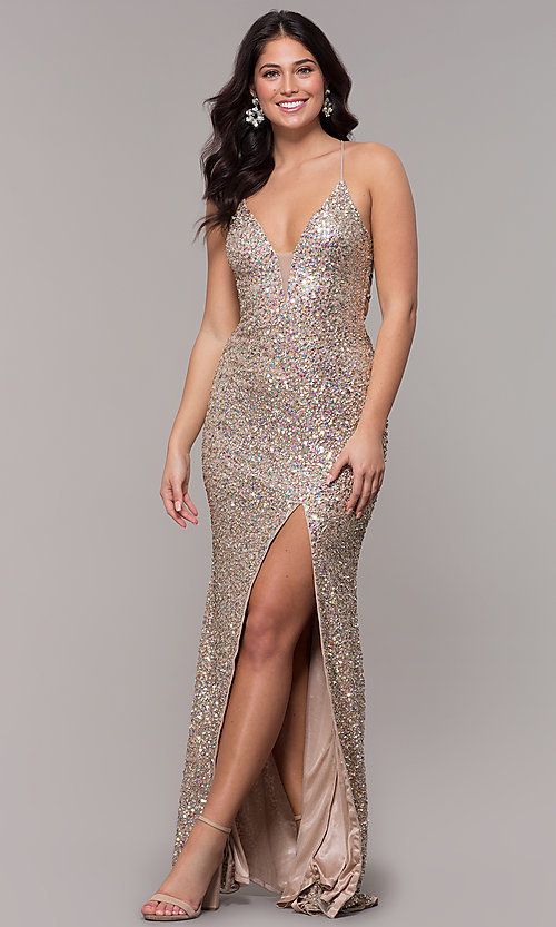 Image of tied-back v-neck long sequin prom dress by PromGirl. Style: PV-PL-136 Detail Image 3
