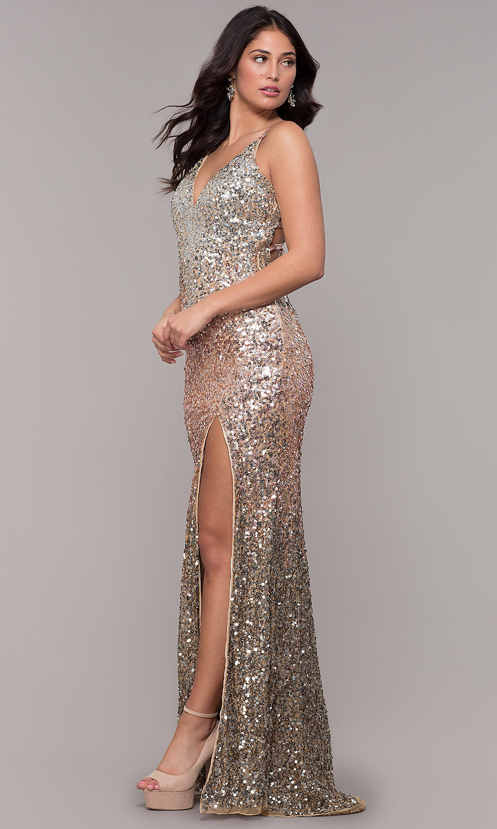 595f48e9027 Caged Back Long V-Neck Sequin Prom Dress by PromGirl