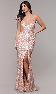 Image of long sequin open-back v-neck prom dress by PromGirl. Style: PV-PL-140 Front Image