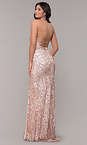 Image of long sequin open-back v-neck prom dress by PromGirl. Style: PV-PL-140 Back Image