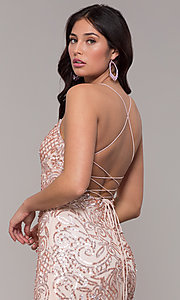 Image of long sequin open-back v-neck prom dress by PromGirl. Style: PV-PL-140 Detail Image 2