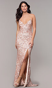 Image of long sequin open-back v-neck prom dress by PromGirl. Style: PV-PL-140 Detail Image 3