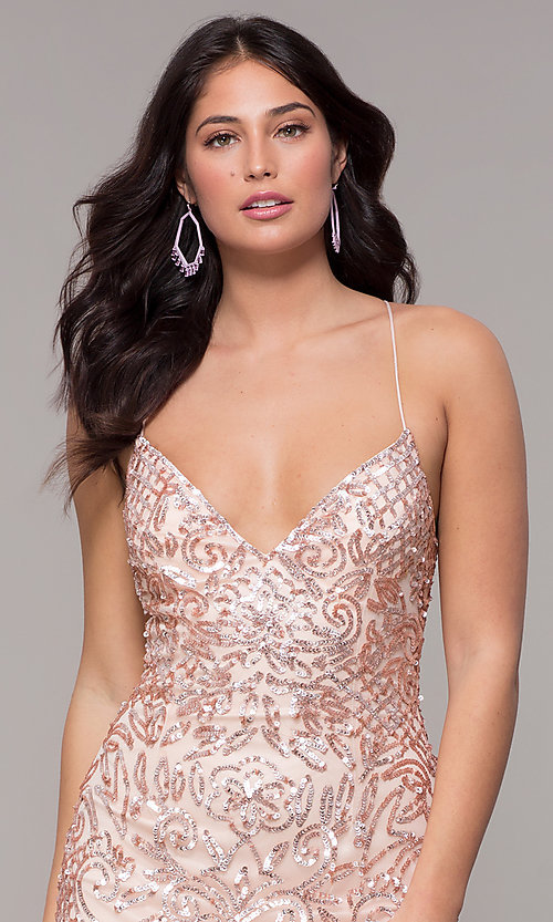 Image of long sequin open-back v-neck prom dress by PromGirl. Style: PV-PL-140 Detail Image 1