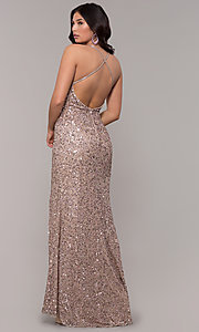 Image of rose gold long v-neck sequin prom dress by PromGirl. Style: PV-PL-141 Back Image