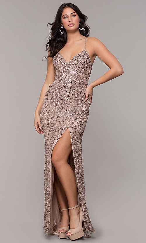 Image of rose gold long v-neck sequin prom dress by PromGirl. Style: PV-PL-141 Front Image