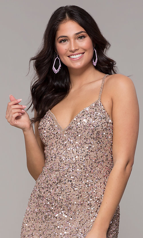 Image of rose gold long v-neck sequin prom dress by PromGirl. Style: PV-PL-141 Detail Image 2