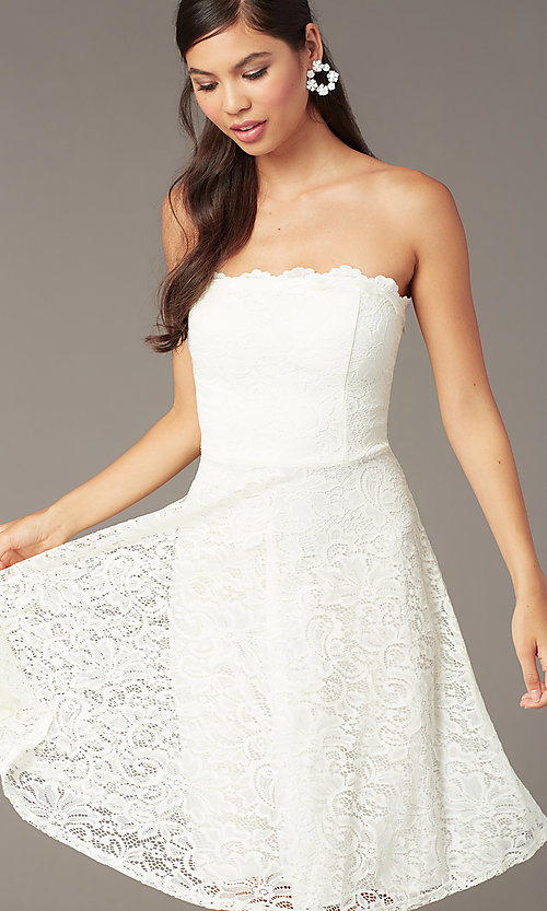 Image of strapless ivory lace short a-line party dress. Style: JU-10394D Detail Image 1