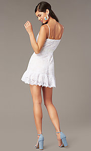 Image of short lace graduation party sundress in ivory. Style: JU-11248 Back Image
