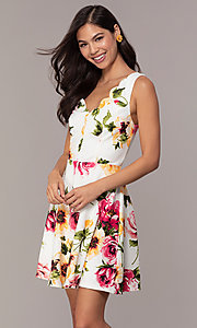 Image of scalloped v-neck short floral-print grad dress. Style: CT-7244XC7BT1 Front Image